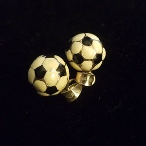 Jewelry - Sterling and enamel soccer ball pendant